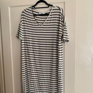 CJLA Midi Dress in Charcoal and Ivory Stripe